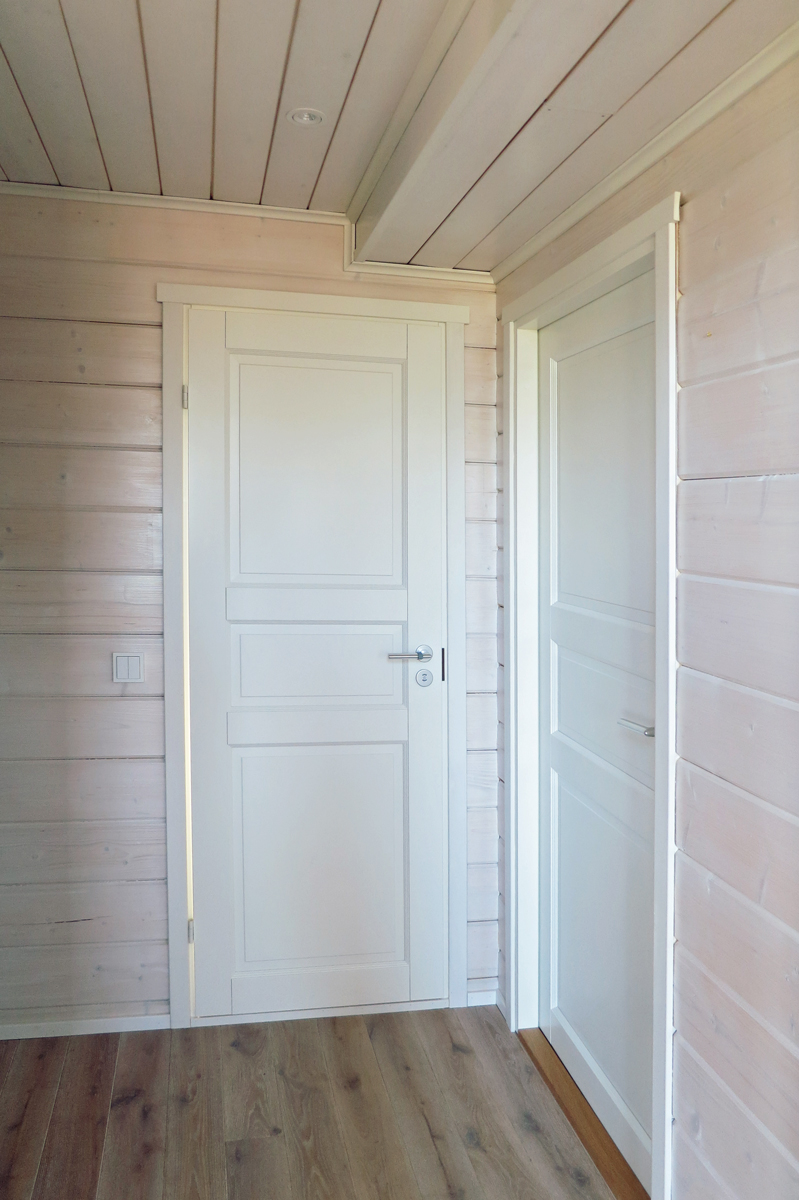 Interior door in a log  cabin