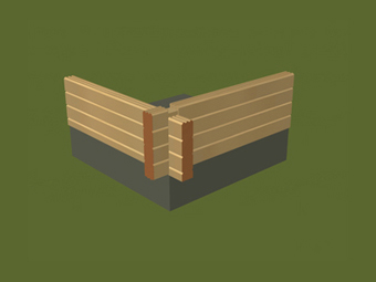 square logs wall
