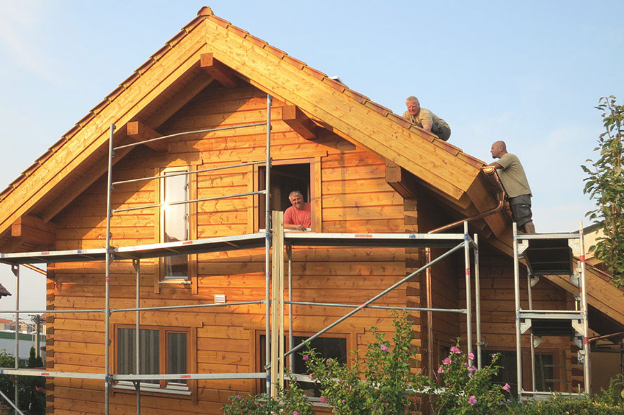 A German-style dovetail notched log house